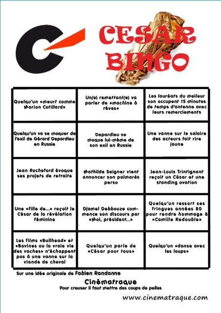 le bingo officiel de la soirée des césars