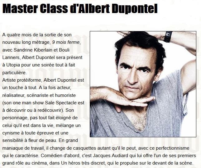 Annonce de la master class d'Albert Dupontel, dans la Gazette de l'Utopia