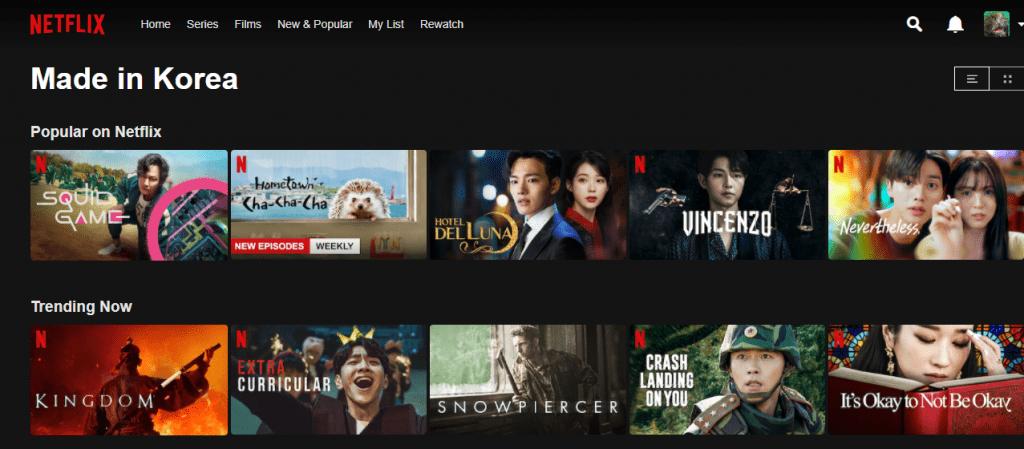 Écran d'accueil de Netflix avec des titres de séries coréennes
